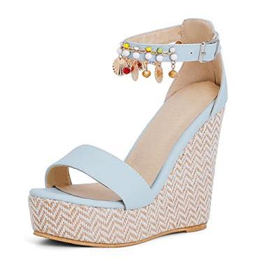 Imagem de Saralris Sandália anabela feminina com bico aberto, pérolas, fivela no tornozelo, sandálias femininas de salto alto para festa, 3 azul, 10