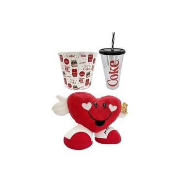 Imagem de Coração Pelúcia +Balde Pipoca Coca-Cola 2,1 +Copão 700ml BBB