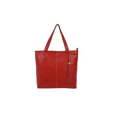 Imagem de Bolsa Feminina Vermelha Shopbag Sacola Saco Tiracolo Couro Legítimo Metais Dourados Madamix