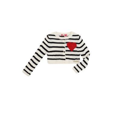 Casaco Infantil Momi Tricot Listrado Coração Bordado