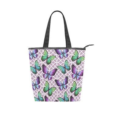 Bolsa feminina de lona durável com borboletas de cor violeta grande capacidade sacola de compras bolsa de ombro