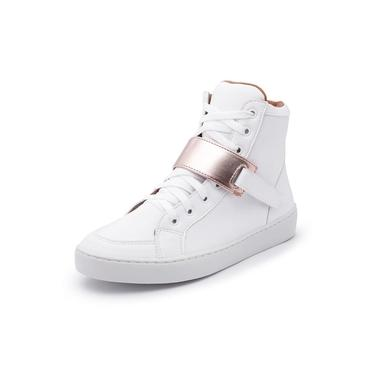 Sapatenis Feminino Cano Alto Top Franca Shoes Branco / Dourado