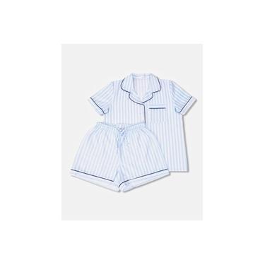 Pijama Feminino Botões, estilo Americano, Curto, Listrado Azul e Branco