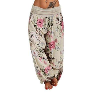 SAFTYBAY Calça feminina Boho Harem com cintura franzida, calça harém hippie, calça de praia de verão, calças rodadas boêmias (bege, 3GG)