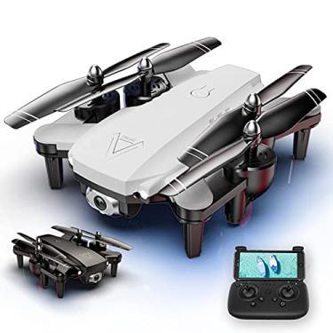 Imagem de Drone L103 WiFi FPV com câmera dupla 4K HD, altura de fluxo óptico mantendo o quadricóptero dobrável, Drone de controle remoto de fotografia aérea de gesto para iniciantes adultos profissionais