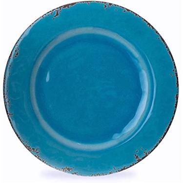 Imagem de Jogo de Jantar com 6 Pratos Rasos e 6 Sobremesa Azul Turquesa em Louça Melamina - Prattos