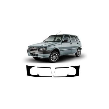 Imagem de Máscara Negra Farol Dianteiro Adesivo 3m PAR - Fiat Uno Mille 2005 Até 2013