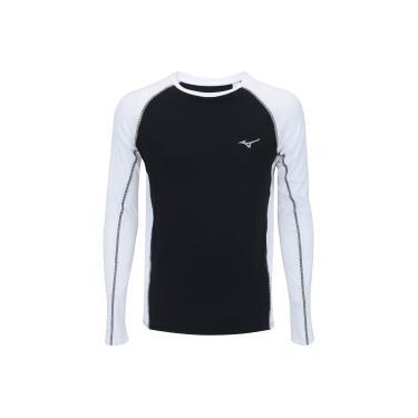 6e6d6a9f93cb5 Camiseta Manga Longa com Proteção Solar UV Mizuno Run Pro - Masculina -  PRETO BRANCO