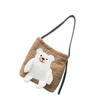 Valicclud bolsa de ombro com estampa de urso, bolsa de ombro feminina para meninas e mulheres, bolsa de viagem ao ar livre, bolsa de aniversário, Caqui, 36X33X3CM