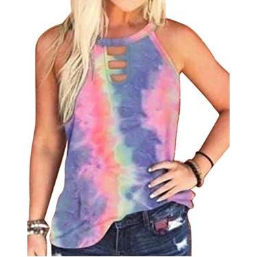 SAFTYBAY Regata feminina de verão, camiseta regata feminina com estampa tie dye, sem mangas, estampa de leopardo, solta, casual, túnica tops, Azul, XXL