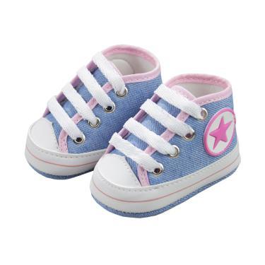 Tênis Cano Alto De Bebê Azul Rosa Star Soffete Azul Claro  unissex