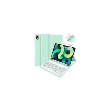 Imagem de IPad Air 4ª Geração 10.9 2020 Caixa de teclado com suporte de lápis - ipad ar 4 10,9 polegadas Capa protetora com teclado sem fio destacável Auto Wake/Sleep Blue