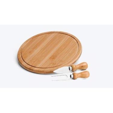 Imagem de Conjunto Kit Para Queijo 3 Peças Madeira Bambu Tabua Redonda Cor:Marrom