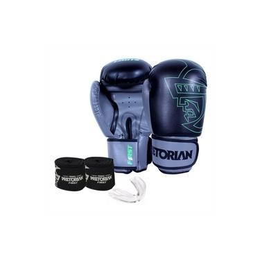 Kit Boxe Muay Thai Pretorian First Luva 12 OZ Preta e Cinza + Bandagem + Protetor Bucal
