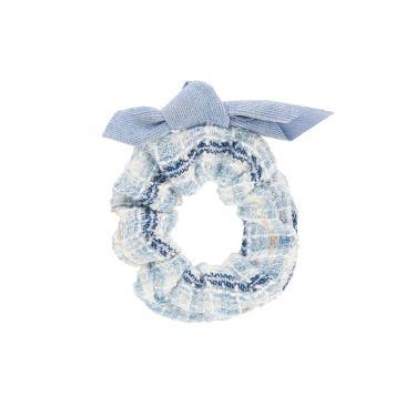 Scrunchie tecido listrado detalhe laço veludo Azul claro