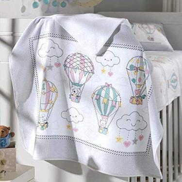 Toalha de Banho P/Bebê - Estampada - Balões - 100% Algodão - C/Capuz - Dohler