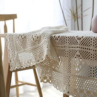 Imagem de Toalha de mesa de algodão vintage crochê macramê renda borla toalhas de mesa costura bege multitamanho retangular 140 x 200 cm -A_140 x 220 cm