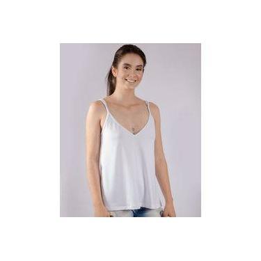 b33c6a50f6 Blusa de Alça Fina Animi Feminina Basica Branca