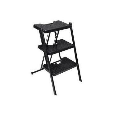 Escada Dobrável Preta 3 Degraus Compacta Slim suporta 120Kg Doméstica - Anodilar
