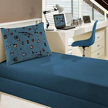 4b77efbdfe Jogo de Cama Portallar Solteiro Malha Portal Play 2 peças Avioes Azul