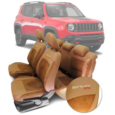 Imagem de Capa de Banco Jeep Renegade 2015 a 2019 Couro Ecológico Esportiva Tuning Shutt Várias Cores Marrom e Whisky