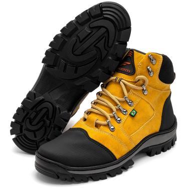 Bota Coturno Adventure Masculina Cano Médio Confortável Amarelo+Preto 35