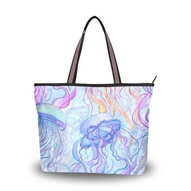 ColourLife Bolsa feminina com alça superior colorida de coral, bolsa de ombro, Multicolorido., Large