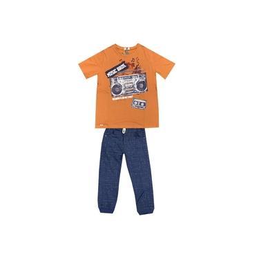 Conjunto Infantil Bros Camiseta Manga Curta e Calça - Em Algodão e Poliéster - Marrom e Azul Marinho