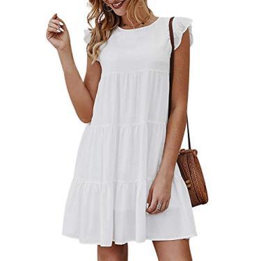 Imagem de Jurebecia Vestido Branco Vestido Longo Branco com Manga Curta e Saia com Babado GG
