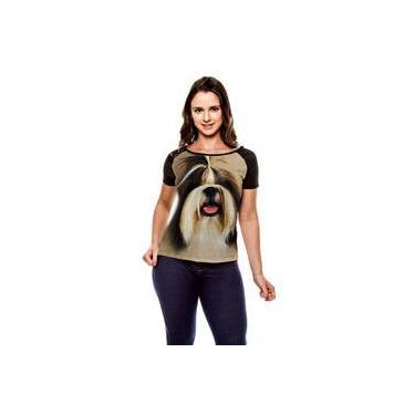 ad7e338e7 Camiseta Raglan Cachorro Shih-Tzu Forelock Baby Look