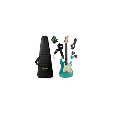 Imagem de Kit Guitarra Tagima TG-500 msg Stratocaster Metallic Surf Green Azul com Afinador, Capa, Correia, Cabo e Palhetas