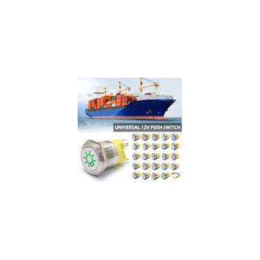 12V 22mm Interruptor de Botão Interruptor de Metal Painel de Controle Símbolo Personalizado Para Universal Motors Yacht Steamer Wongkuba