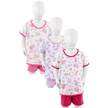 Kit 3 Pijamas Curto Algodão Juvenil Menina