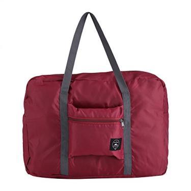 Imagem de Bolsa de armazenamento, tamanho grande, dobrável, bolsa de mão, bolsa de viagem, bolsa organizadora para viagem ao ar livre (vinho vermelho)