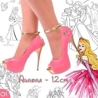 Sandália Meia Pata Rosa Pink Dourado Salto Alto Fino Coroa