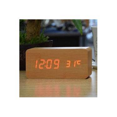 5092a69c803 Relógio Despertador Mesa Digital Tipo Madeira Com Sound Control 1299-natural
