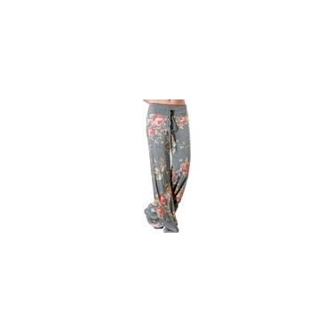 Calças femininas com estampa floral de perna larga soltas femininas calças compridas até os tornozelos