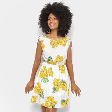 02bff0dd15 Pechinchas-35% Vestido Estampado Floral Pérola Feminino - Branco - G