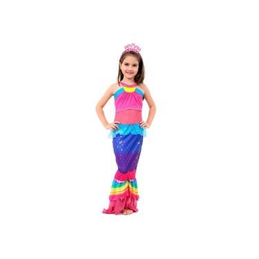Imagem de Fantasia Barbie Sereia Dreamtopia Com Tiara Infantil Feminina