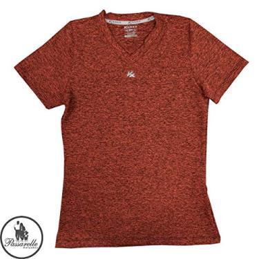 Camiseta Feminina Kanxa Baby Look Blend Manga Curta Academia P/Treinos DrySoft Microfibra 7092 - Laranja Cítrico