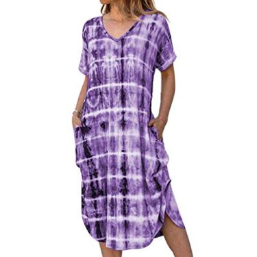 Vestido longo feminino Boho com bolsos, vestido longo casual de manga curta com gola V, tie dye lateral solto, Roxa, XXL