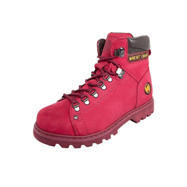 Bota Worker Couro West Coast Tratorada Rosa  masculino
