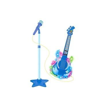 Guitarra E Microfone Infantil Azul Com Som E Luz Meninos - Dm Toys