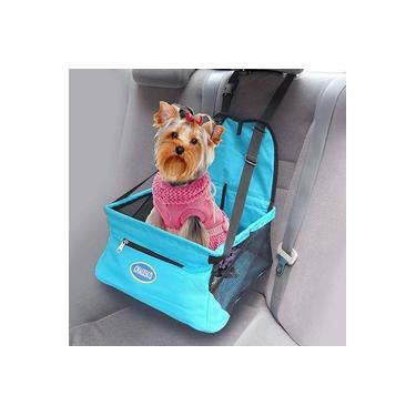 Cadeirinha de transporte para cachorro e gato Assento para Banco de Carro Car Seat Chalesco Azul