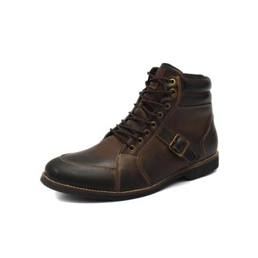 Bota Masculina Shoes Grand Buckle em Couro Taupe  masculino
