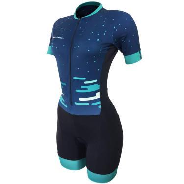Barbedo Sports, Macaquinho feminino Dayse, Azul Marinho/ Detalhes/ Tons De Azul, Tamanho GG