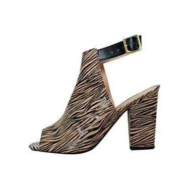 Imagem de Ankle Boot Suede Gnu Salto Grosso Cor:Onça;Tamanho:38;Gênero:Feminino