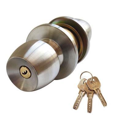 Aibecy Conjunto de fechadura de maçaneta de porta com 3 chaves maçaneta em estilo bola redonda Privacidade Quarto Maçaneta de banheiro Conjunto de fechadura de aço inoxidável polido Maçaneta de porta
