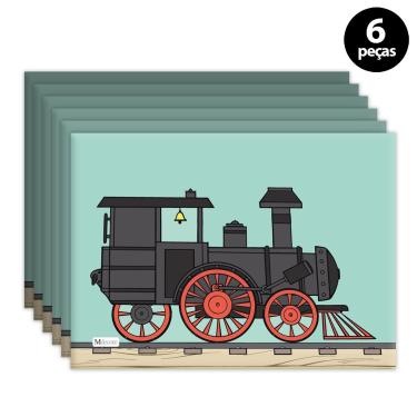 Imagem de Jogo Americano Mdecore Trem Verde 6pçs