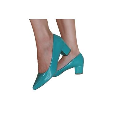 Sapato Scarpin Verniz Salto Bloco Verde Água